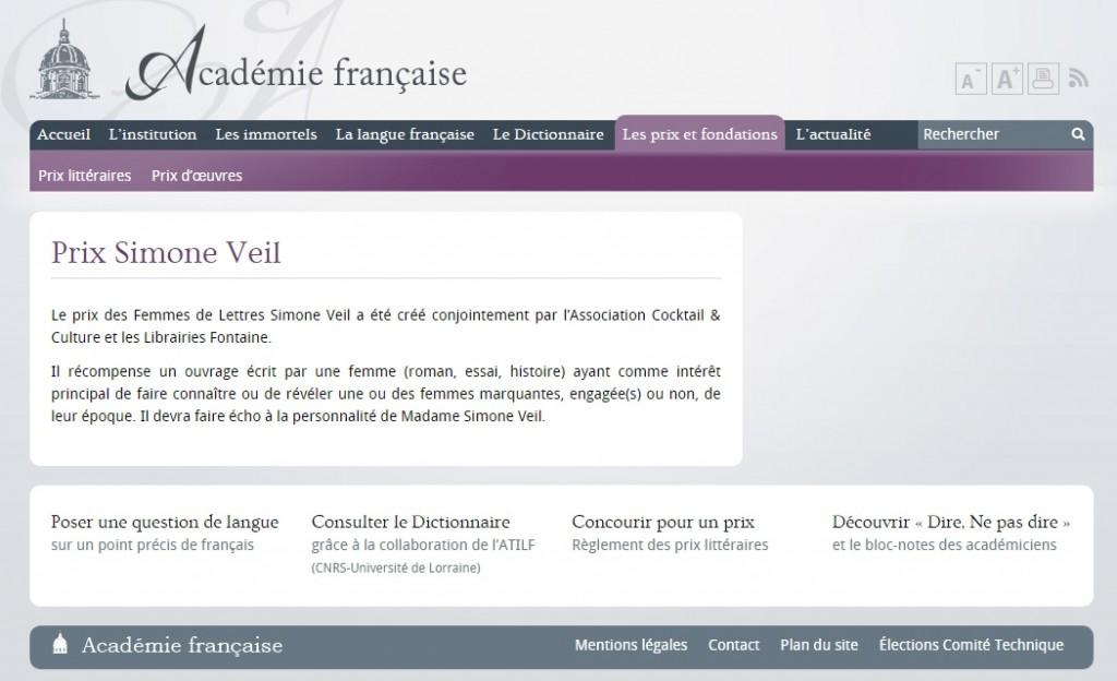Académie Française Prix Simone Veil