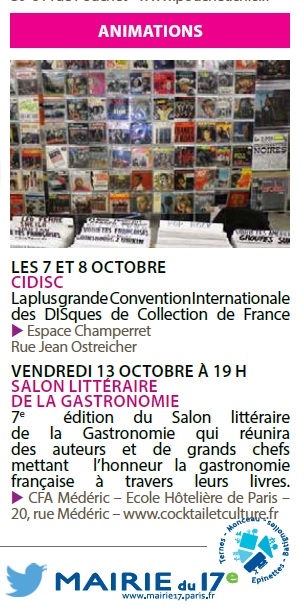 Agenda culture octobre 2017 Mairie 17