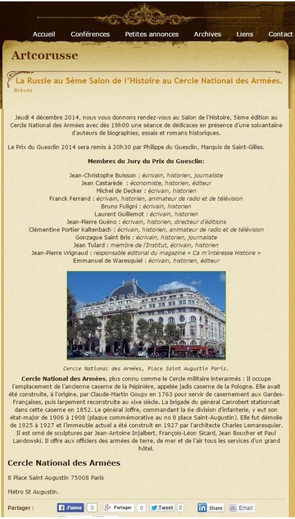 Article Artcorusse 5ème Salon de l'Histoire 2014