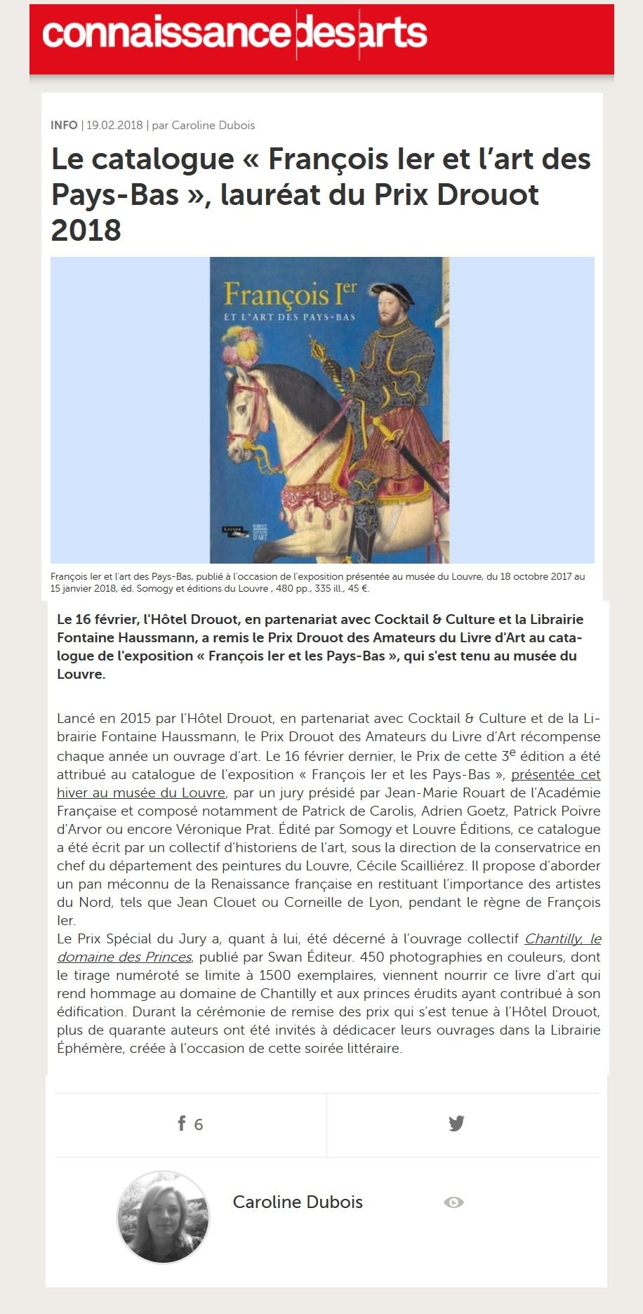 Article Connaissance des Arts 19.02.18