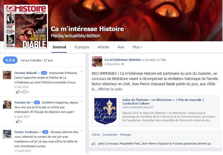 Article Facebook Ca m'intéresse Histoire Prix du Guesclin 2014