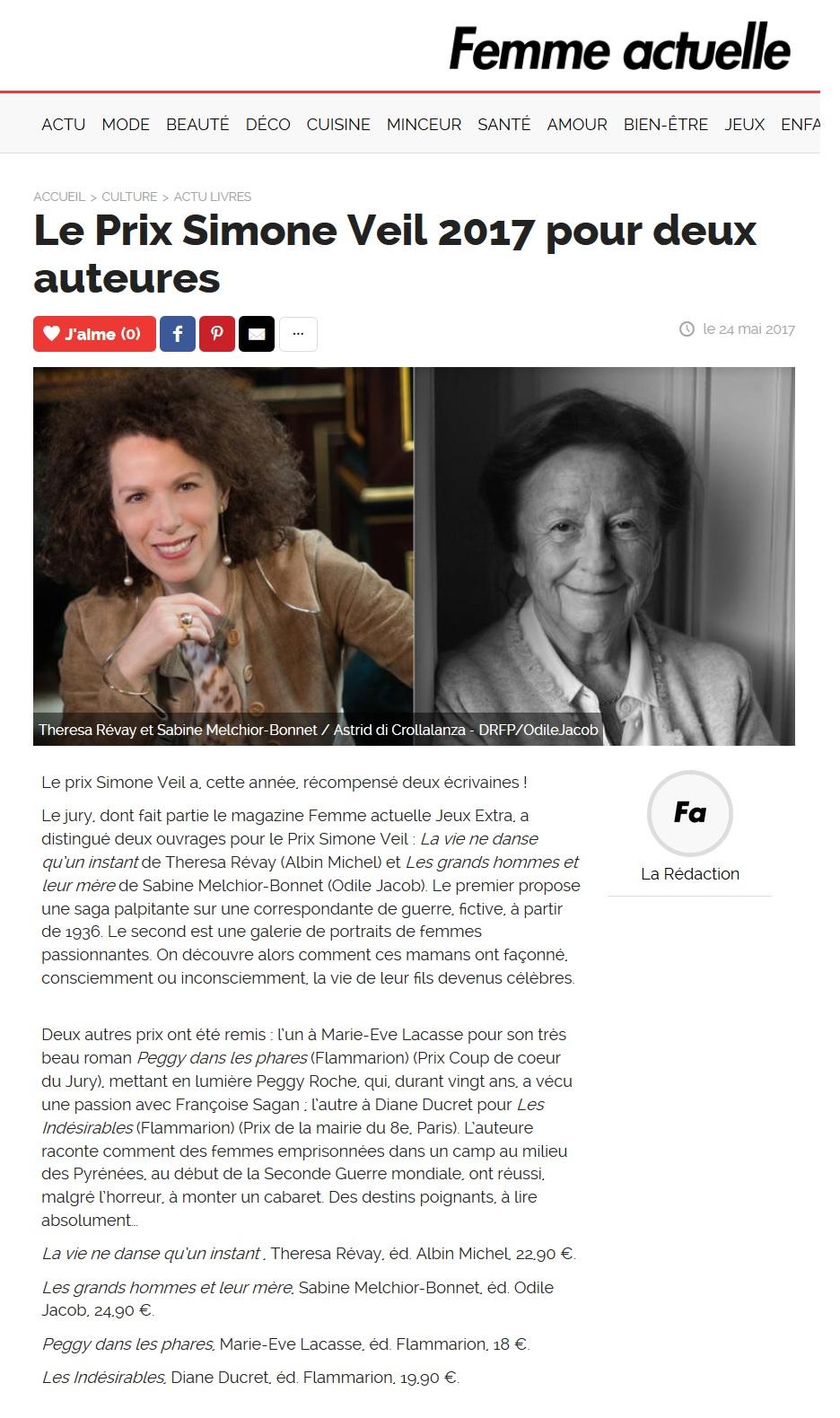 Article Femme Actuelle Prix Simone Veil 2017