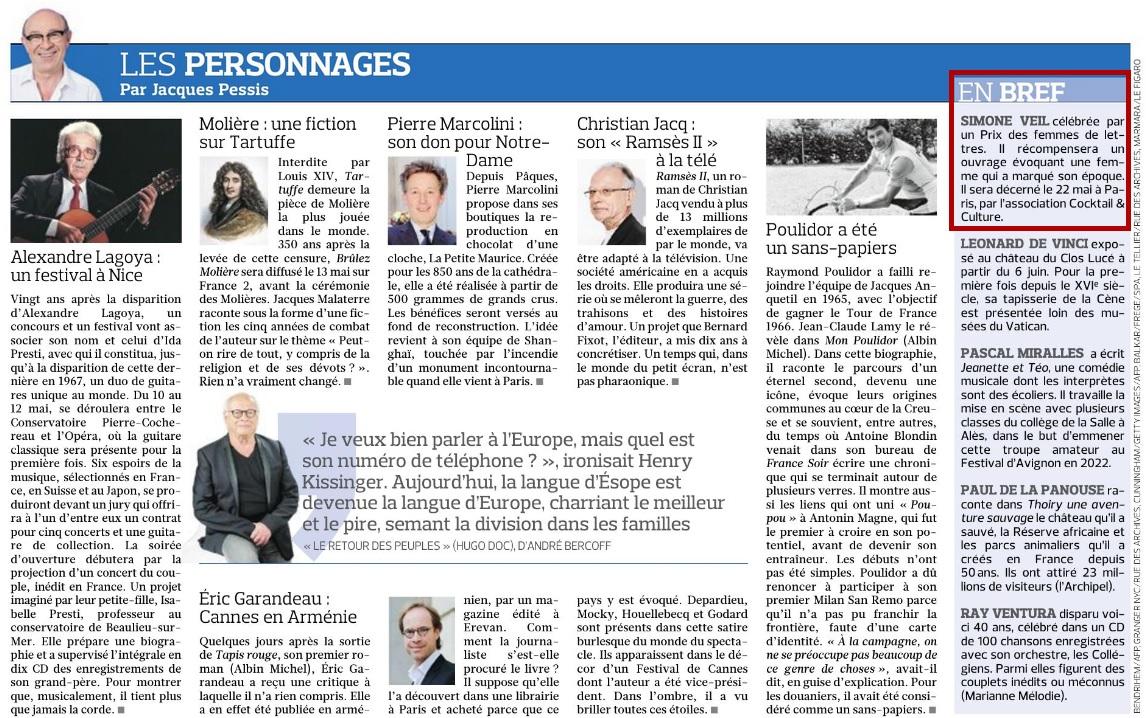 Article Figaro Prix Simone Veil 27.04.19