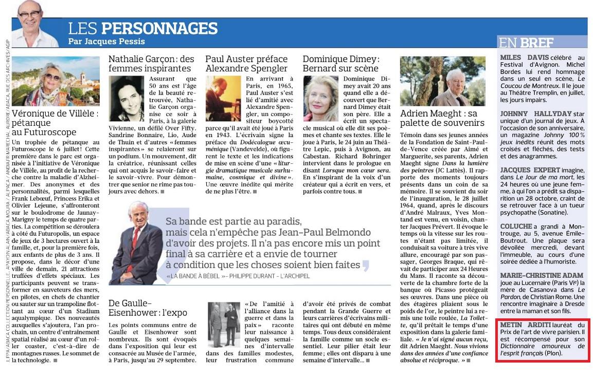 Article Figaro Prix du Livre de l'Art de Vivre Parisien 17.06.19