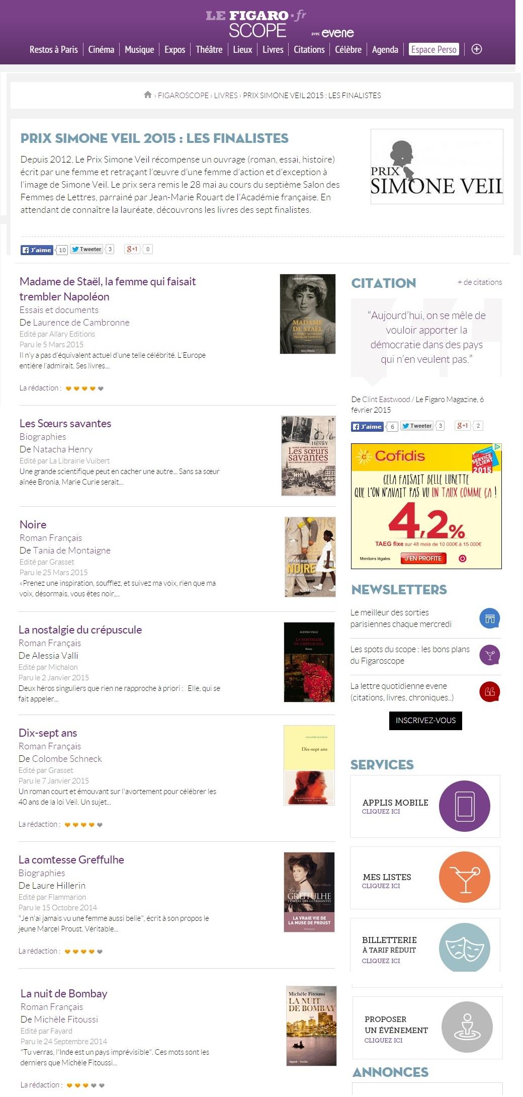 Article Figaroscope Prix Simone Veil 2015