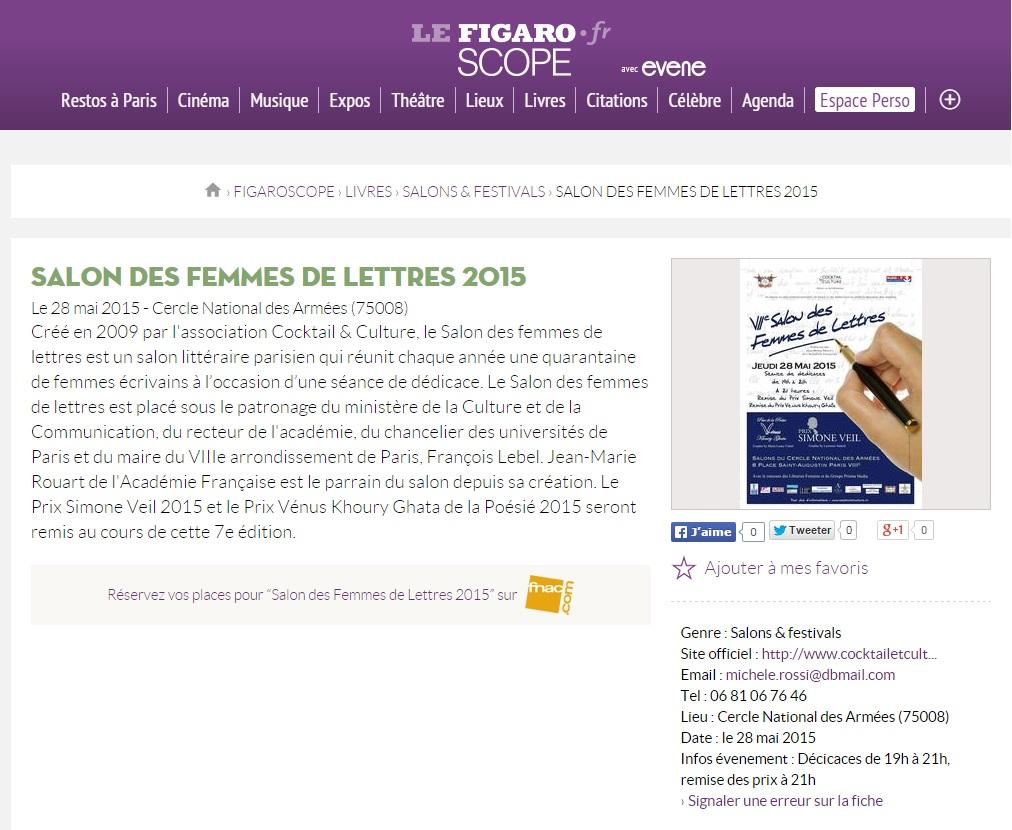 Article Figaroscope Salon des Femmes de Lettres 2015