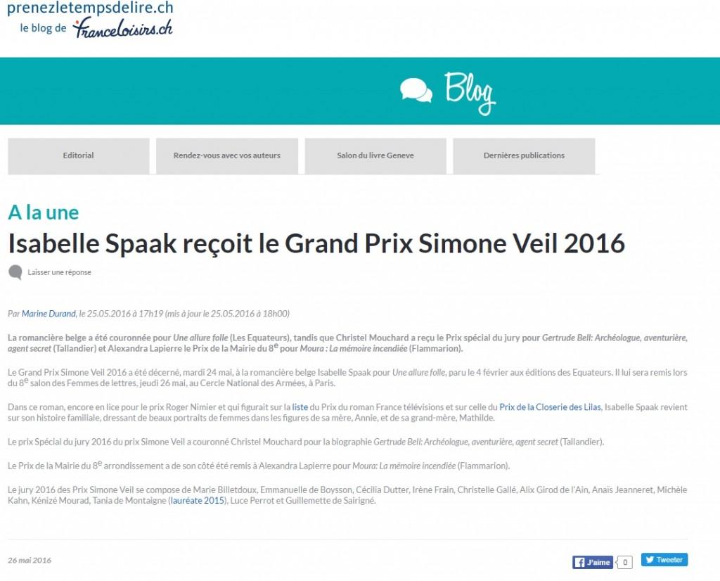 Article France Loisirs Suisse Prix Simone Veil 2016