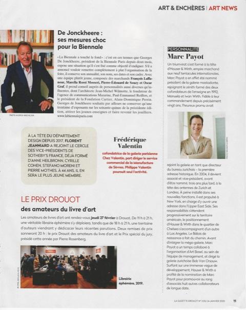 Article Gazette de Drouot Remise Prix Drouot 2020 24 janvier 2020