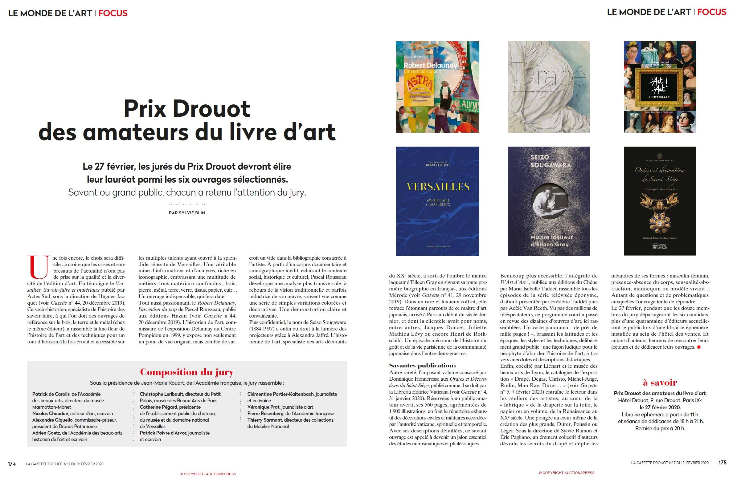 Article Gazette de Drouot du 21 février 2020