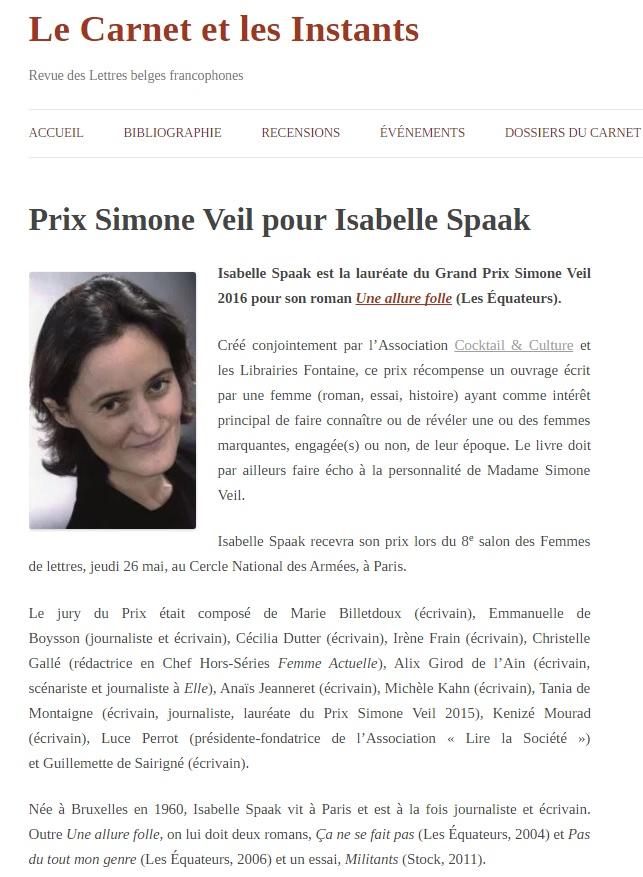 Article Le Carnet et les instants Prix Simone Veil 2016