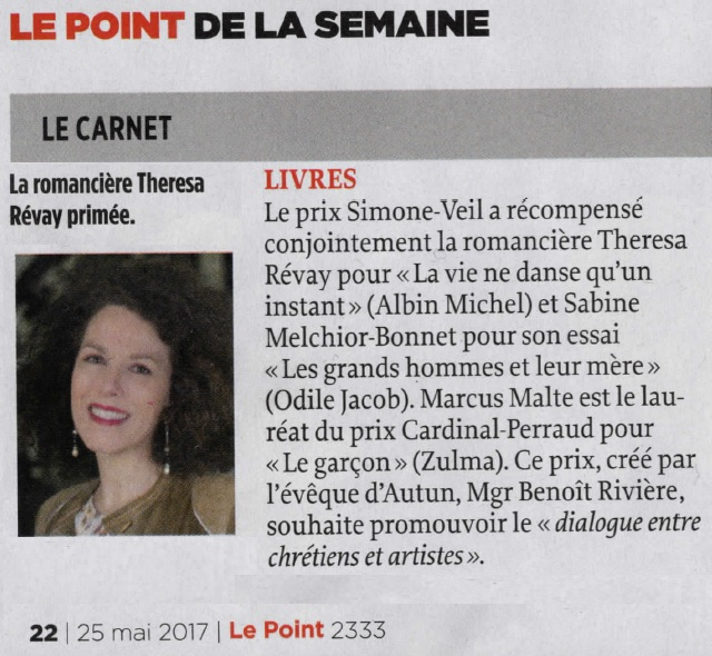 Article Le Point 25.05.17 Prix Simone Veil 2017