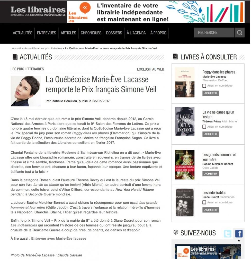 Article Les libraires (Canada) 23.05.17 Prix Simone Veil 2017