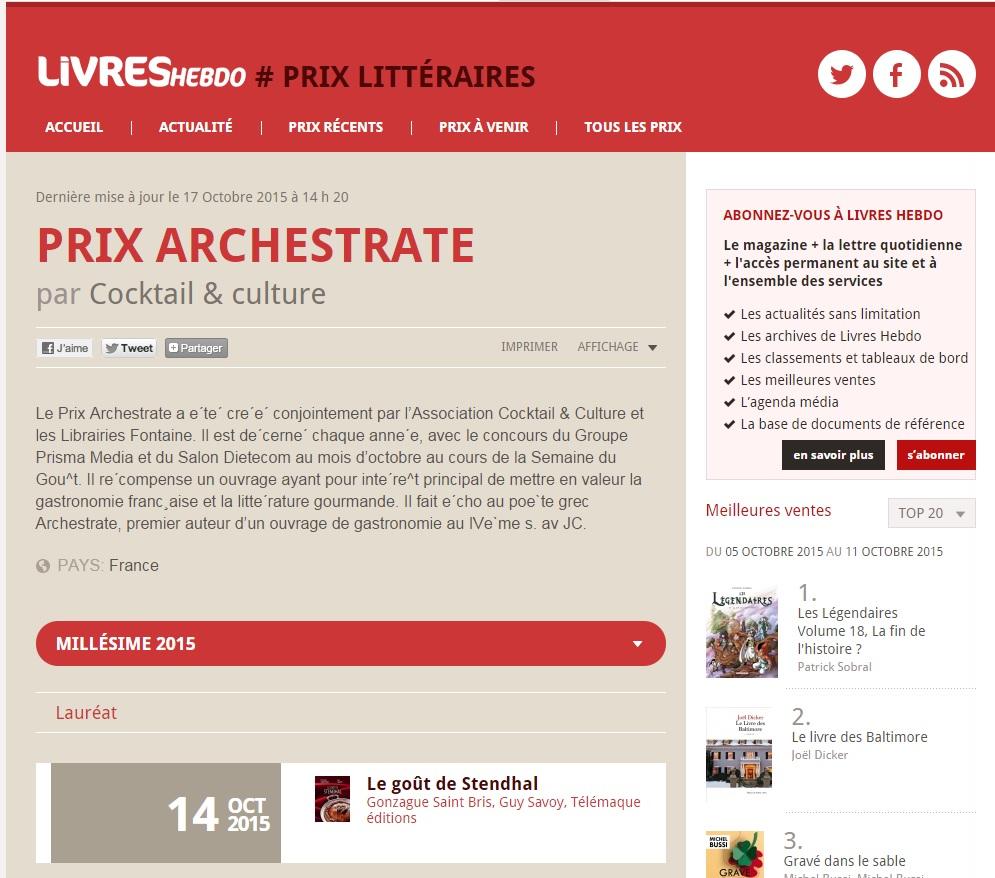 Article Livre Hebdo Prix Archestrate 17.10.15