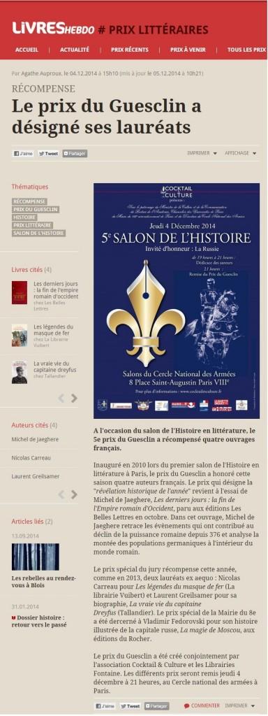 Article Livre Hebdo Prix du Guesclin 2014