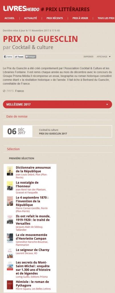 Article Livre Hebdo Prix du Guesclin 2017 finalistes