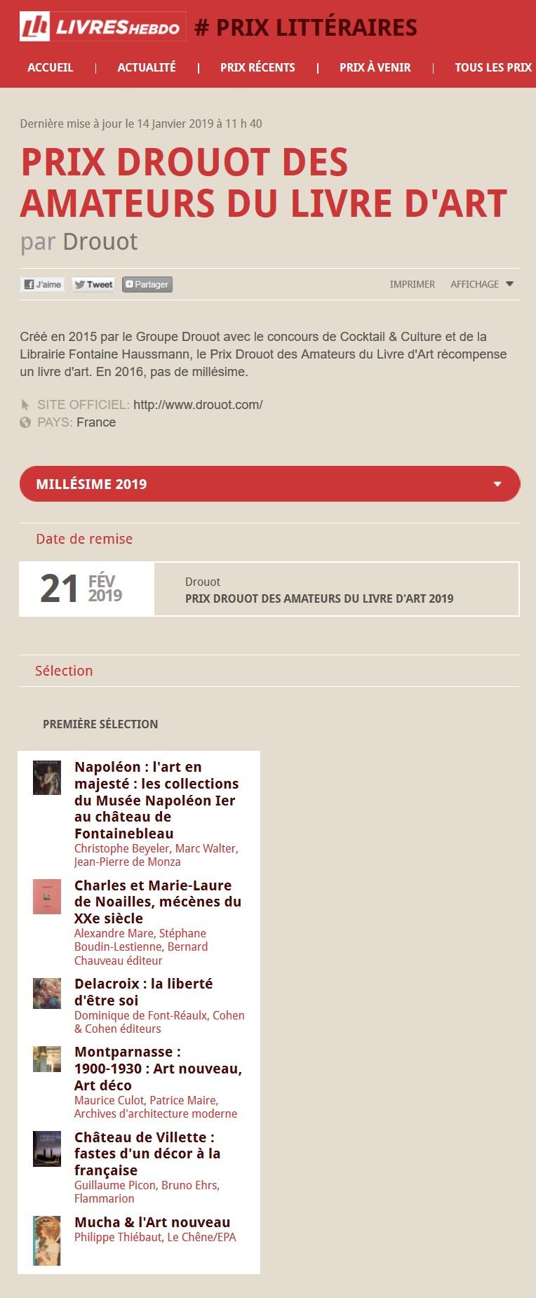 Article Livres Hebdo Finalistes Prix Drouot 2019