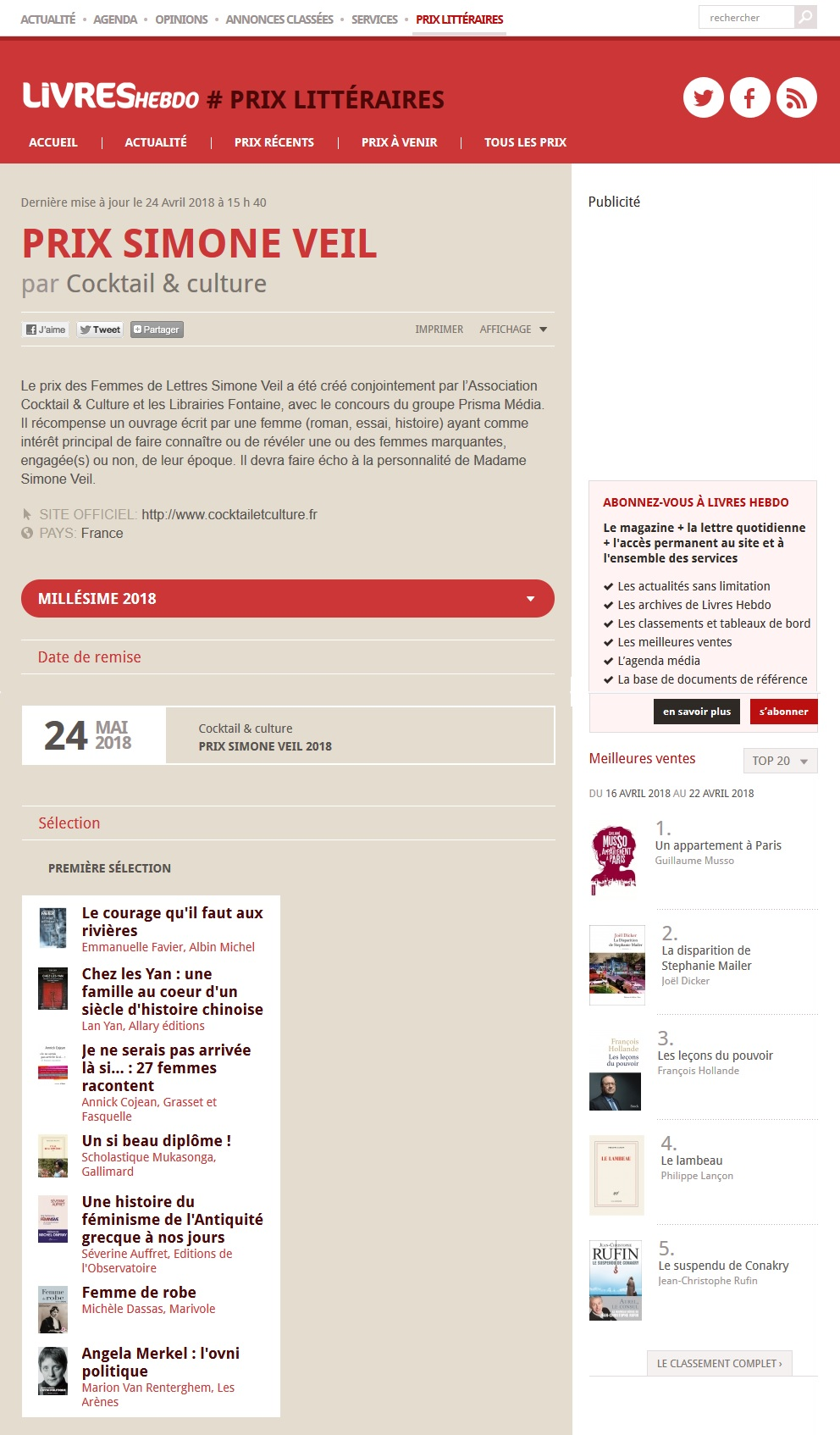 Article Livres Hebdo Finalistes Prix Simone Veil 2018