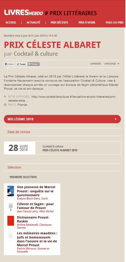 Article Livres Hebdo Prix Céleste Albaret 2018