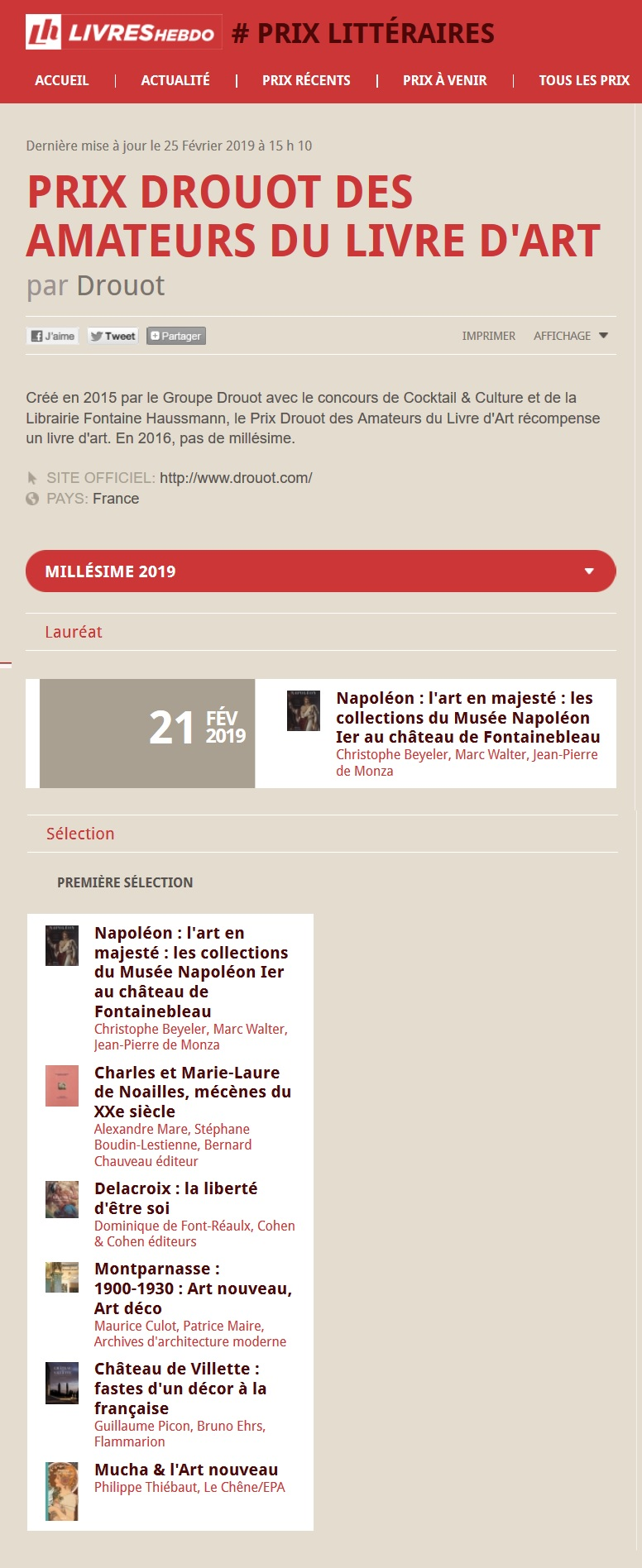 Article Livres Hebdo Prix Drouot 2019