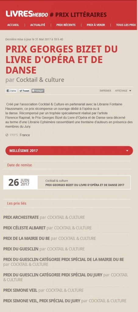 Article Livres Hebdo Prix Georges Bizet 2017