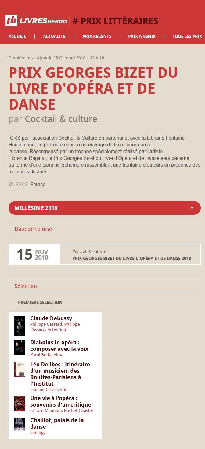Article Livres Hebdo Prix Georges Bizet 2018-2