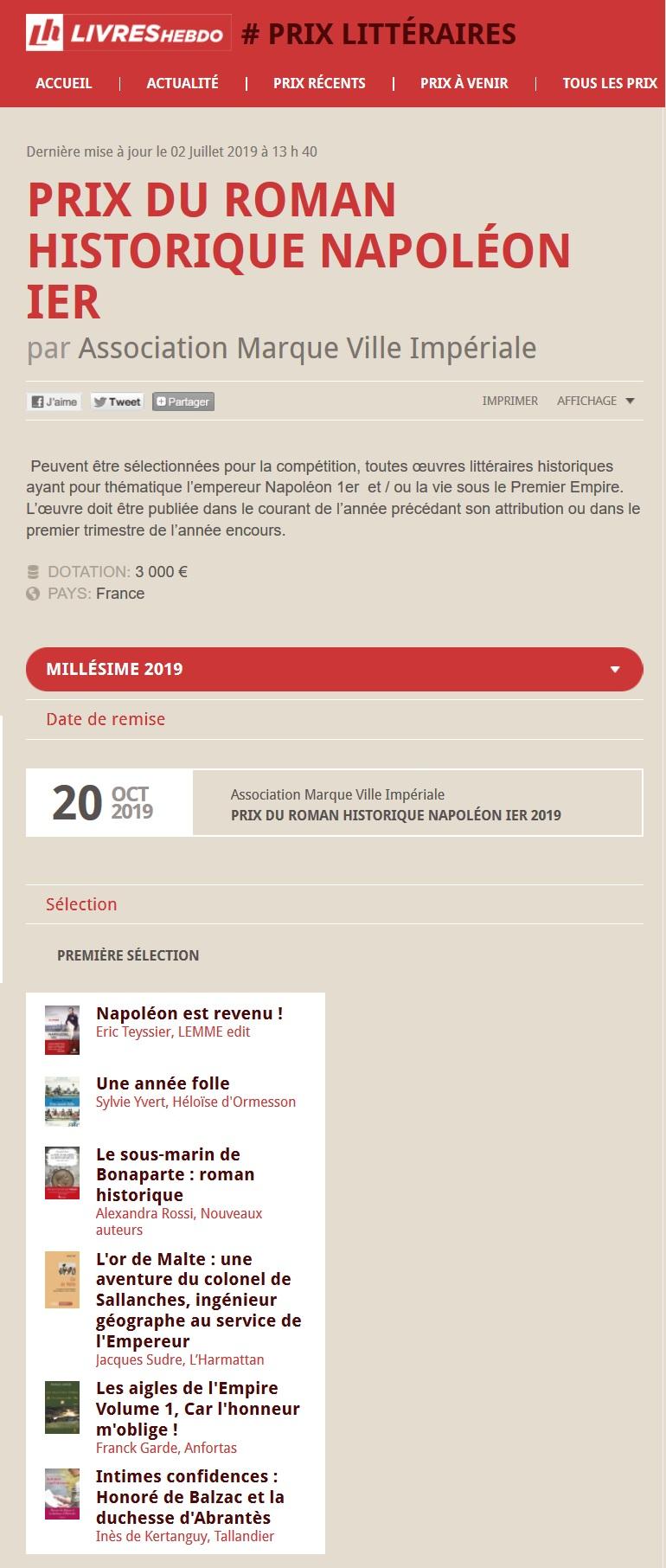 Article Livres Hebdo Prix Napoleon Ier