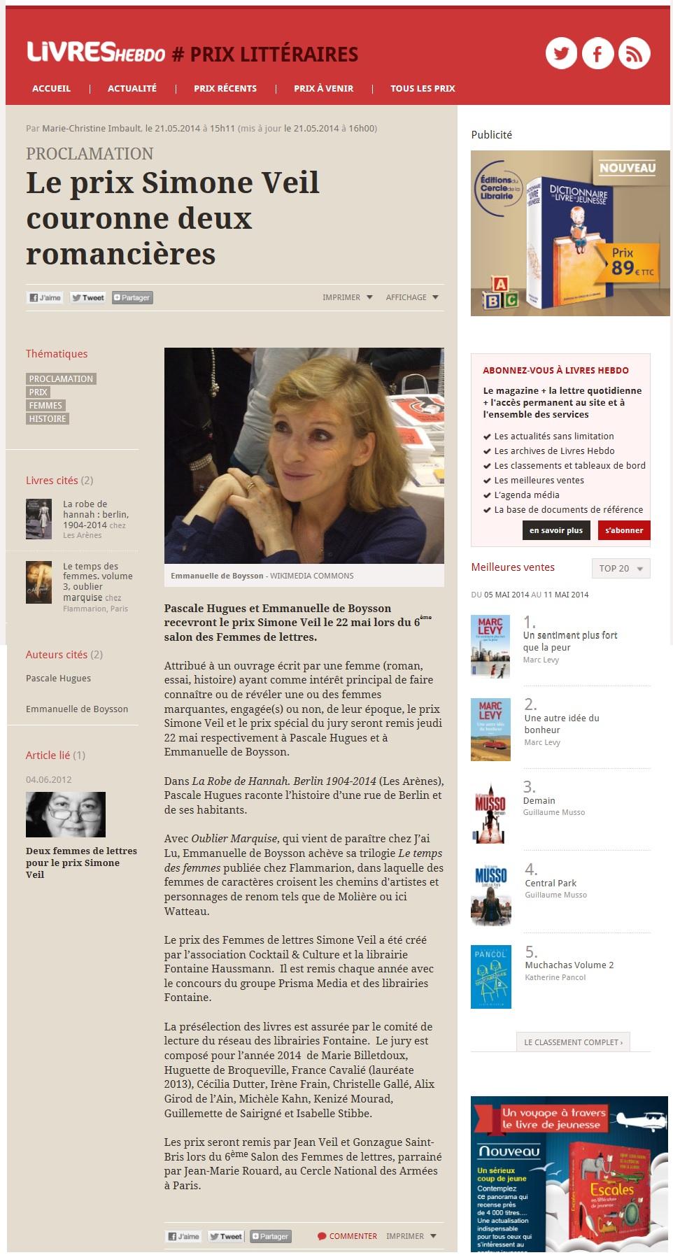 Article Livres Hebdo Prix Simone Veil 2014