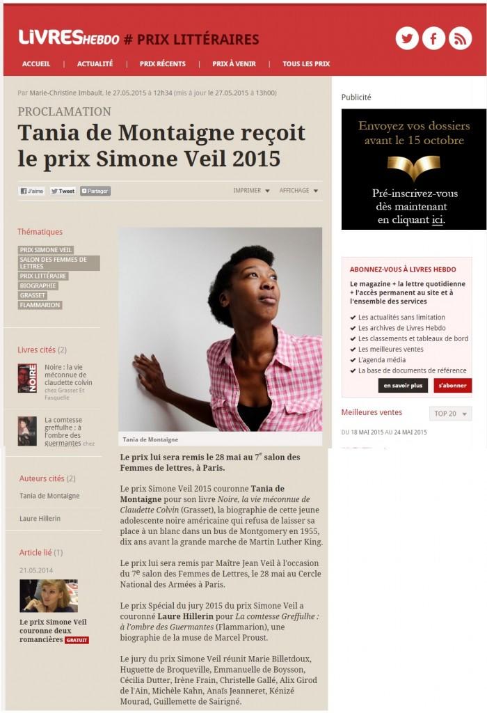 Article Livres Hebdo Prix Simone Veil 2015