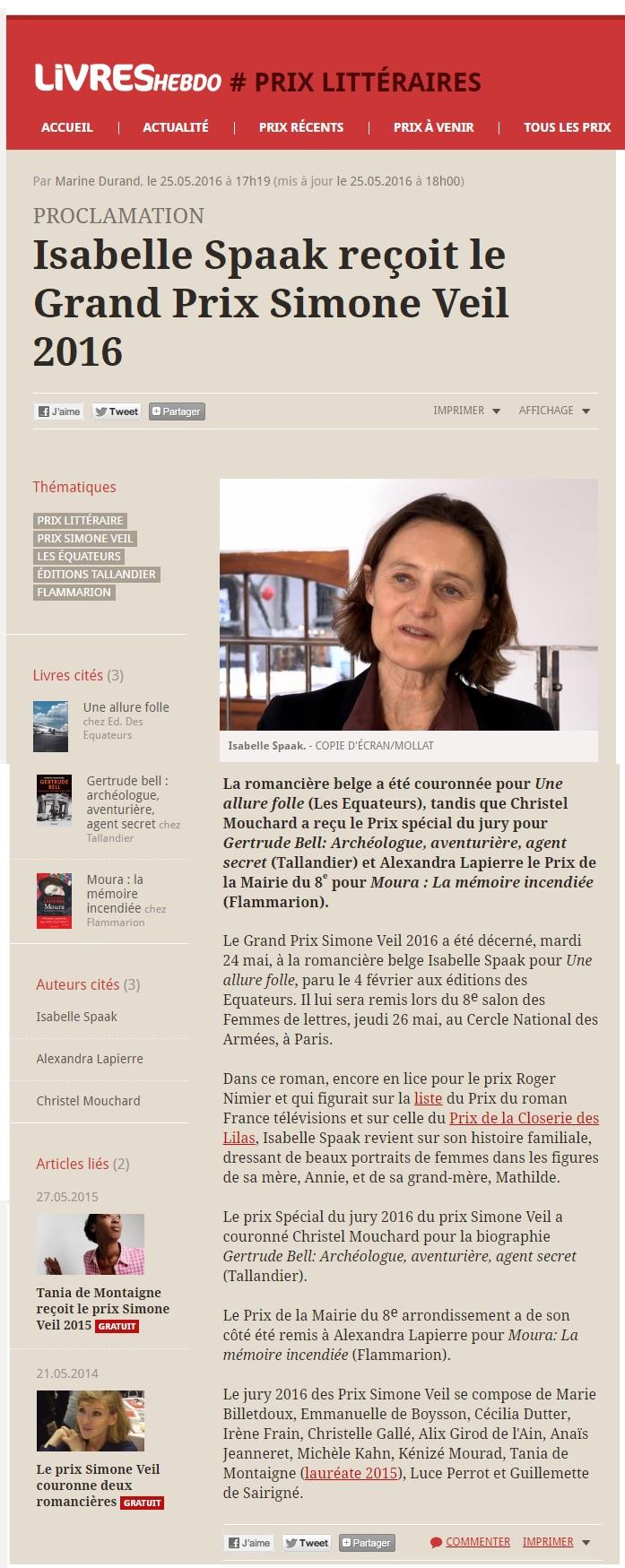 Article Livres Hebdo Prix Simone Veil 2016