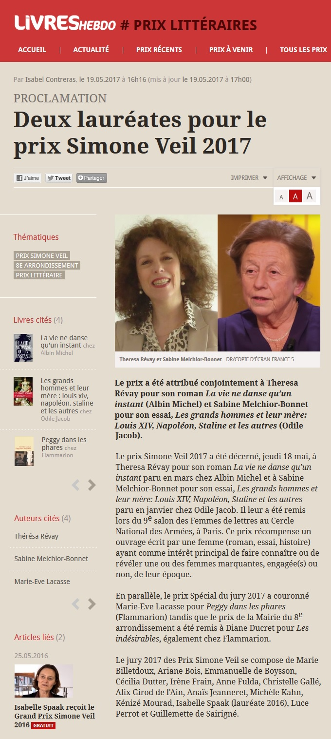 Article Livres Hebdo Prix Simone Veil 2017