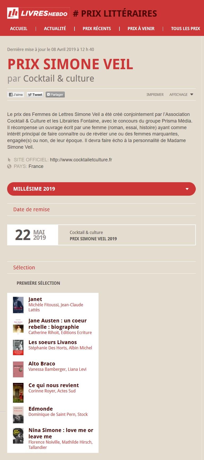 Article Livres Hebdo Prix Simone Veil 2019