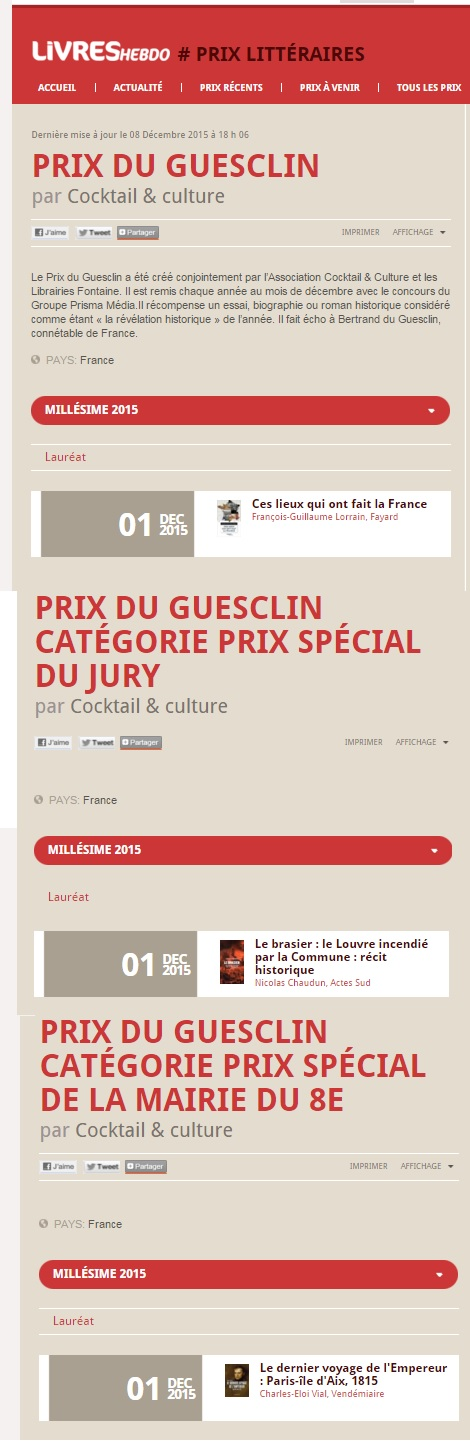 Article Livres Hebdo Prix du Guesclin 2015