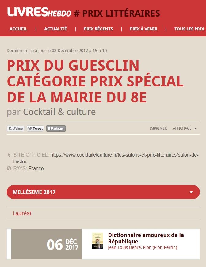 Article Livres Hebdo Prix du Guesclin 2017 2