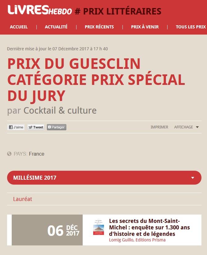Article Livres Hebdo Prix du Guesclin 2017 3