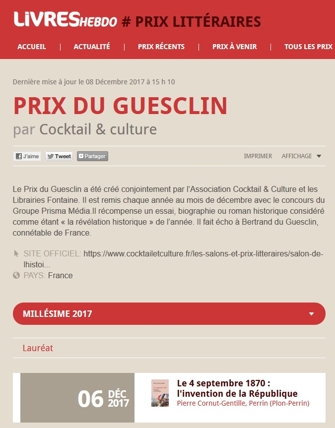 Article Livres Hebdo Prix du Guesclin 2017