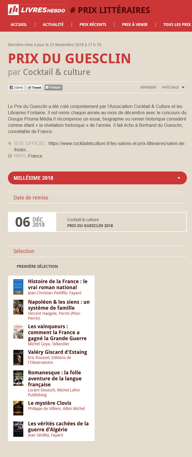 Article Livres Hebdo Prix du Guesclin 2018
