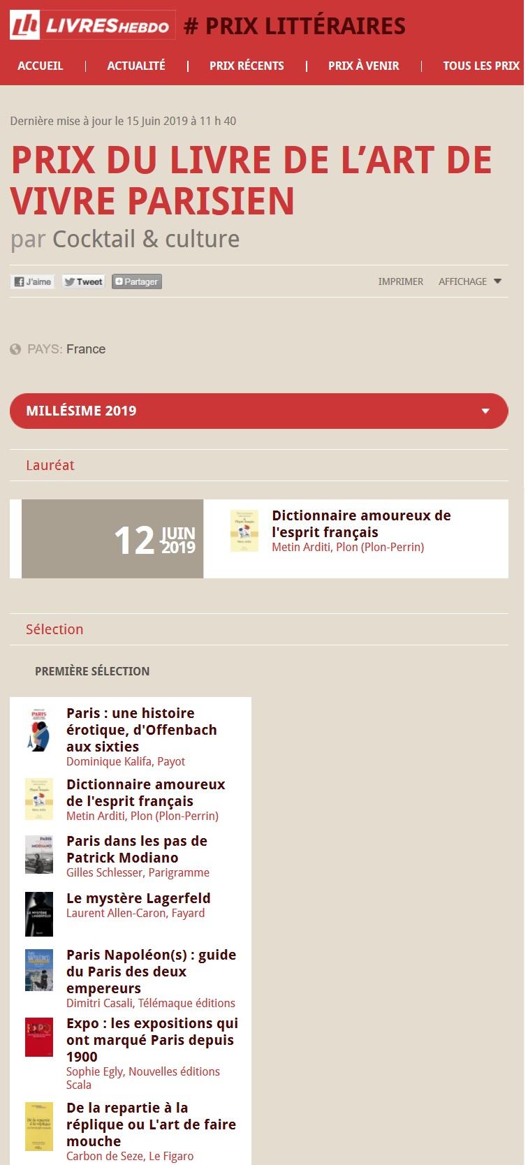 Article Livres Hebdo Prix du Livre de L'art de Vivre Parisien 2019 lauréat