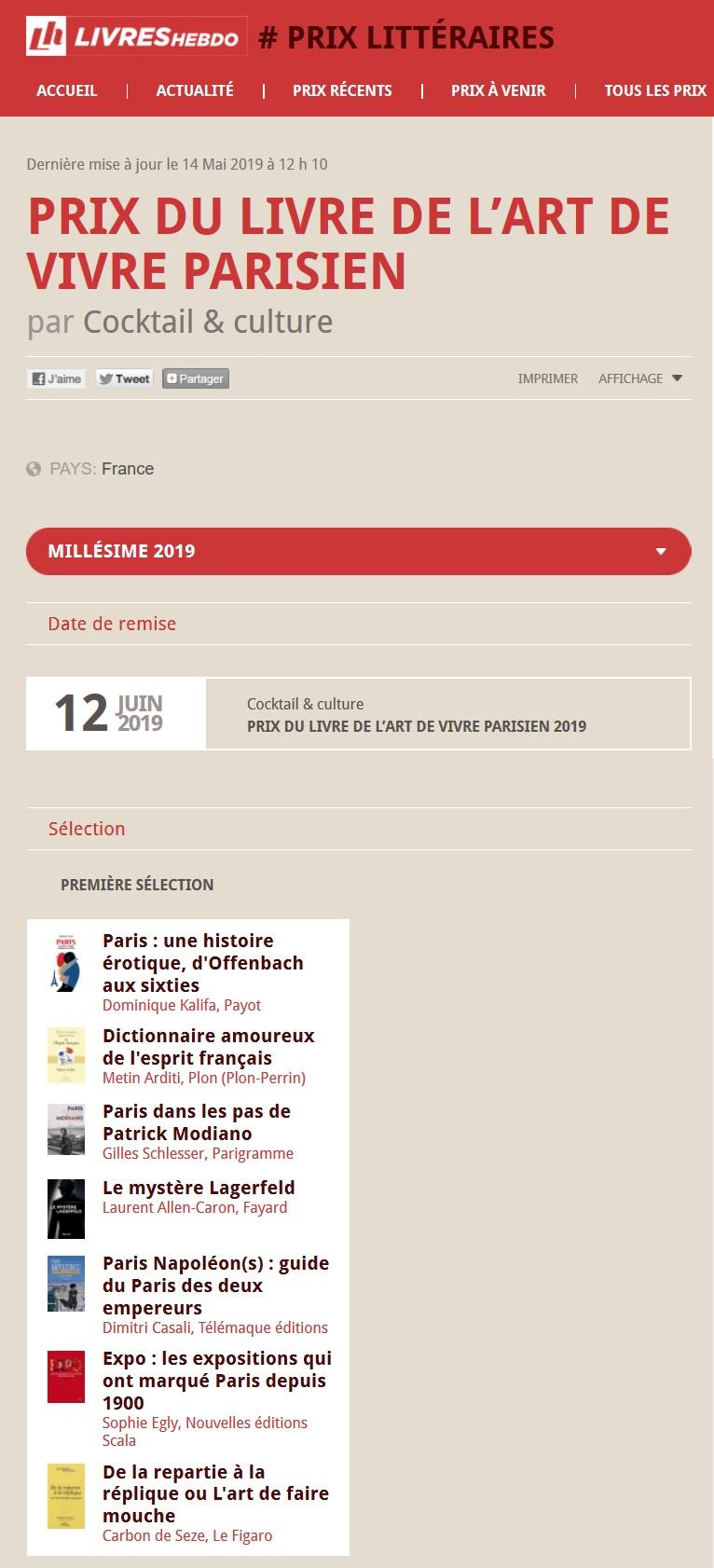 Article Livres Hebdo Prix du Livre de L'art de Vivre Parisien 2019