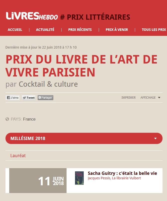 Article Livres Hebdo Prix du Livre de L'art de Vivre Parisien lauréat