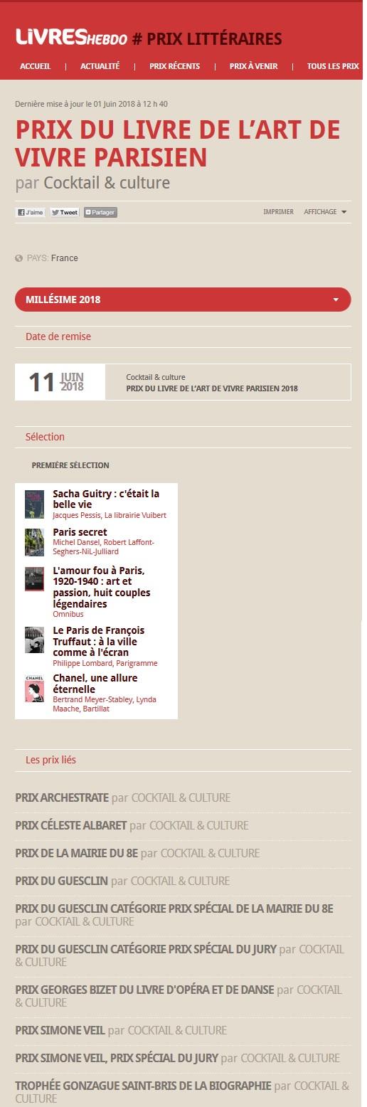 Article Livres Hebdo Prix du Livre de l'Art de Vivre Parisien