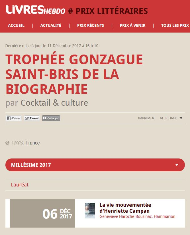 Article Livres Hebdo Trophée Gonzague Saint-Bris de la Biographie 2017