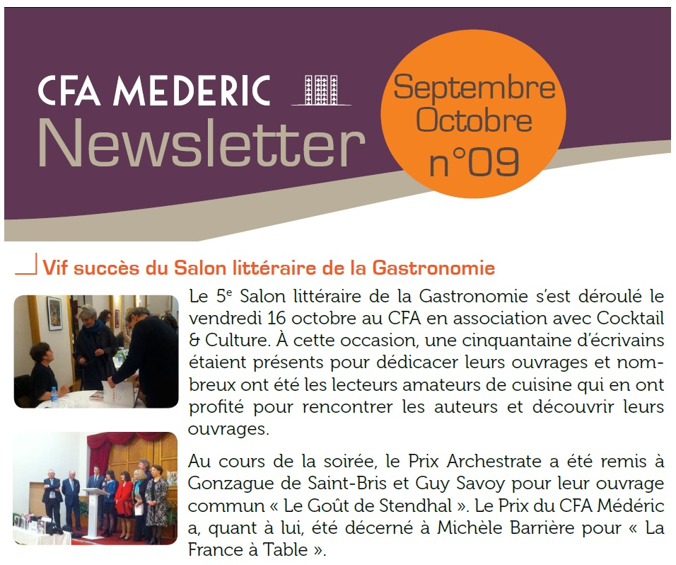 Article Newsletter CFA Mederic octobre 2015