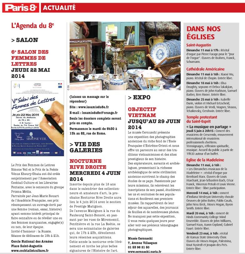 Article Paris 8ème 6ème Salon des Femmes de Lettres