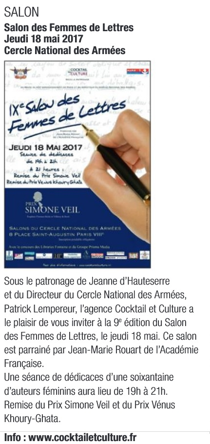 Article Paris 8 Salon des Femmes de Lettres 2017