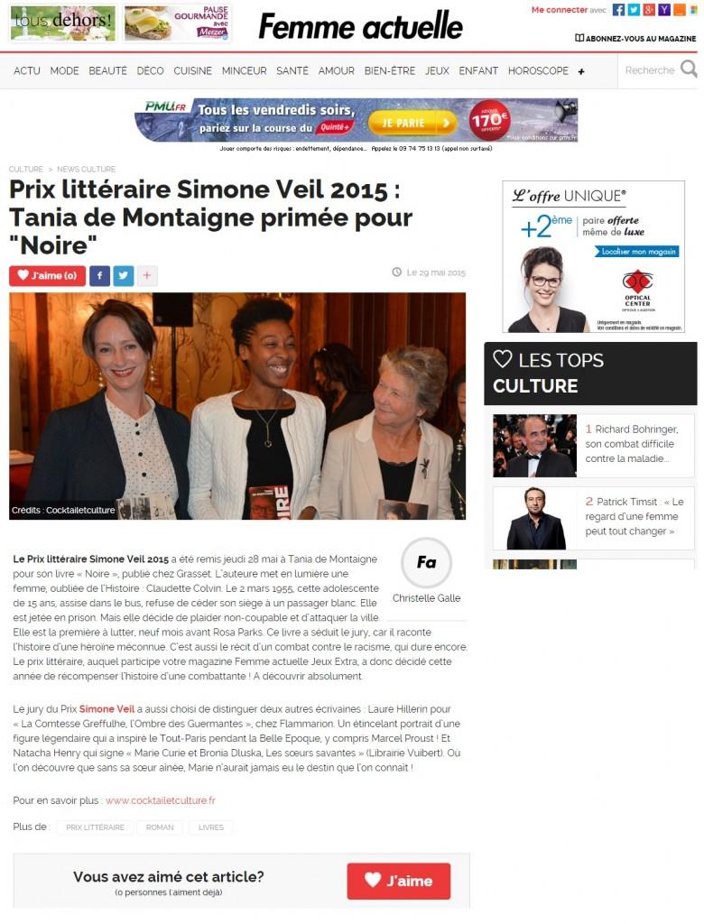 Article Prix Femme Actuelle Prix Simone Veil 2015