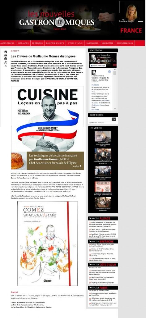 Article les nouvelles gastronomiques Prix Archestrate 2017