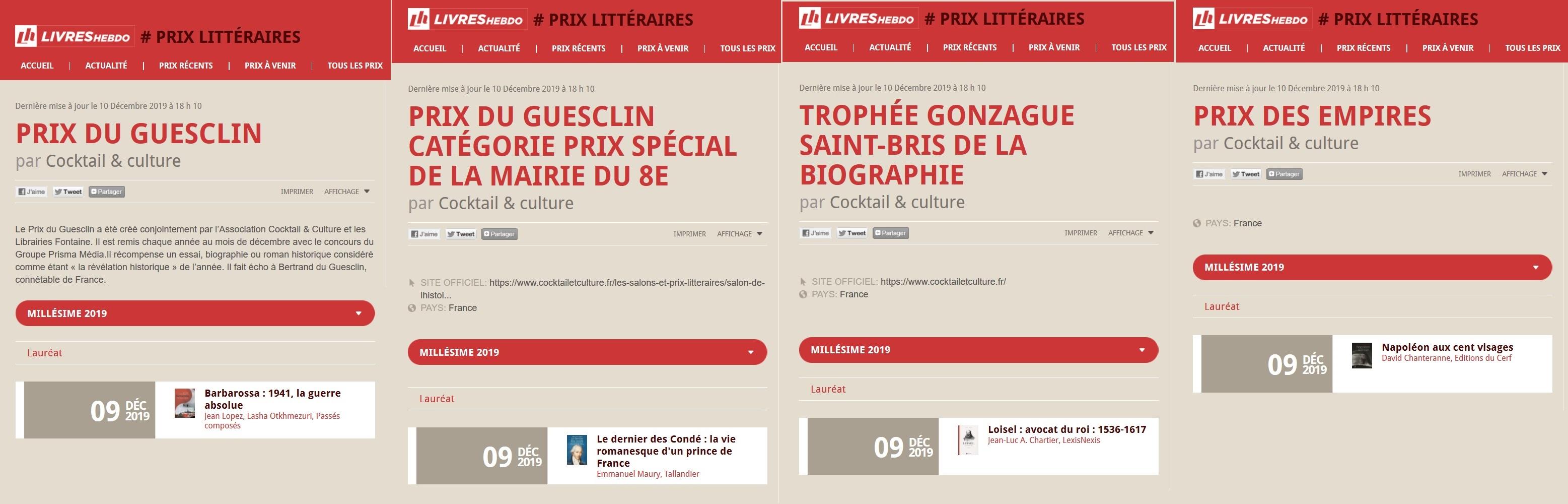 Articles Livres Hebdo tous les lauréats 2019