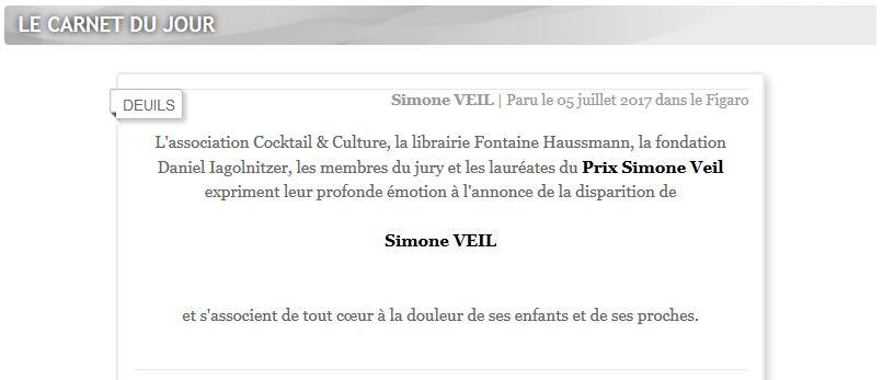 Carnet du Jour Figaro Simone Veil 5 juillet 2017