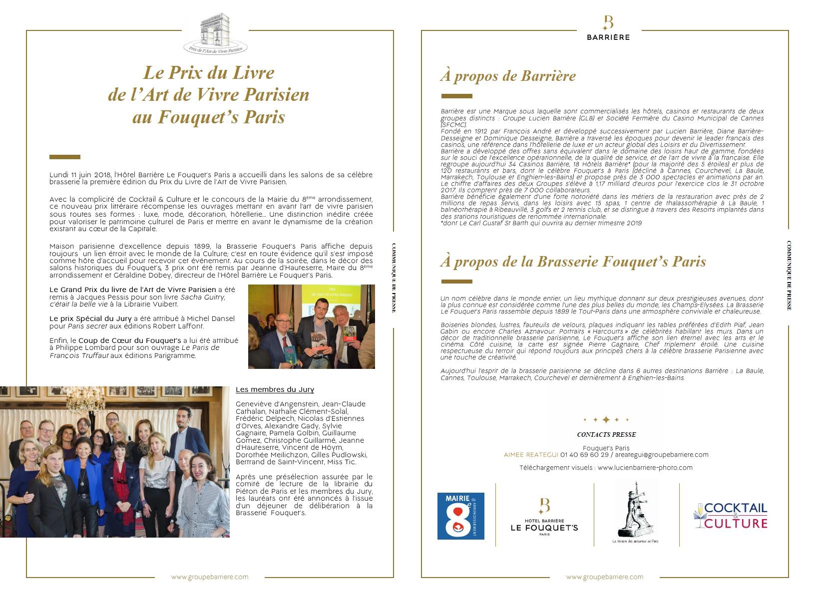 Communiqué de presse Art de Vivre Parisien