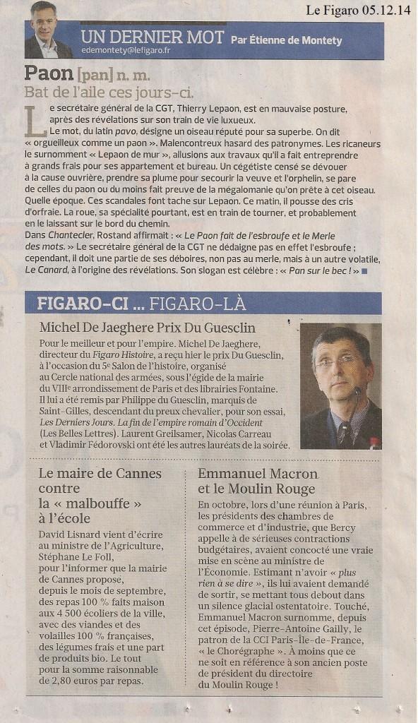 Figaro Article Prix du Guesclin 2014